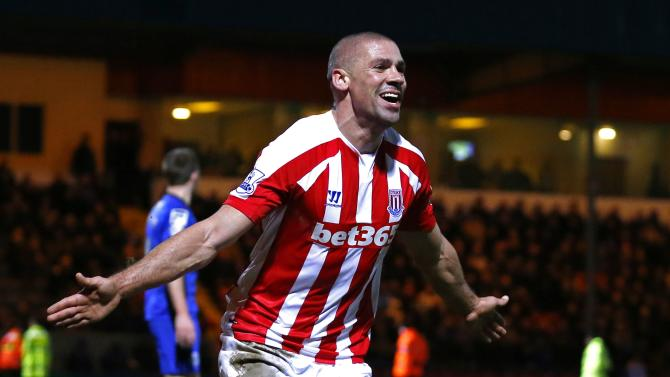Stoke City's Walters celebrates after scoring a goal against Rochdale during their FA Cup fourth round soccer match at the Spotland stadium in Rochdale