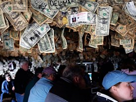 dollar bills decorate store in Alaska