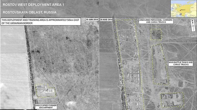 A combination satellite image shows what is reported by SHAPE to be a military deployment site on the Russian side of the border, near Rostov-on-Don