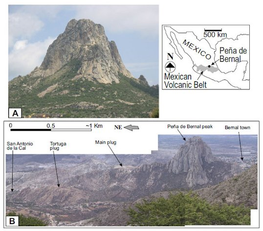 Peña de Bernal Natural Monument, the world's tallest monolith, seen toward the north (a) and in a panoramic shot (b). The monoloth is located in north-central Mexico.