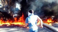 A Shaam News Network image purportedly shows a man running during an anti-regime demonstration in Damascus on May 19, 2012. A bomb rocked the Damascus neighbourhood of Qaboon during the night killing five people, the Syrian Observatory for Human Rights said on Tuesday