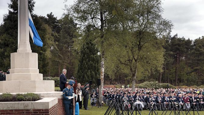 Canada's PM Harper speaks during the Government of Canada ceremony of remembrance in the Canadian war cemetery at Holten