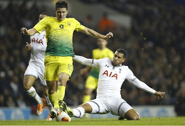 Tottenham's Etienne Capoue, right, vies for the ball with Anzhi's Ilya Maksimov during the Europa League group K soccer match between Tottenham Hotspur and Anzhi Makhachkala at White Hart Lane