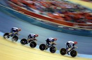 Great Britain's Edward Clancy, Geraint Thomas, Steven Burke and Peter Kennaugh compete during the London 2012 Olympic Games men's team pursuit track cycling event at the Veldorome in the Olympic Park in East London on August 3, 2012
