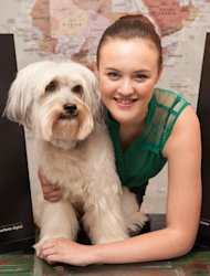 Pudsey the dog and owner Ashley Butler