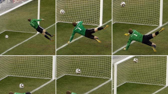FILE - In this June 27, 2010 file photo made from a combination of six photos, Germany's goalkeeper Manuel Neuer looks at a ball that hit the bar to bounce over the line during the World Cup round of 16 soccer match between Germany and England at Free State Stadium in Bloemfontein, South Africa. FIFA on Tuesday, April 2, 2013 picked the GoalControl goal-line technology system as its preferred choice ahead of the 2014 World Cup in Brazil, and will use it first at the Confederations Cup in June. FIFA President Sepp Blatter has urged using goal-line technology in Brazil after England midfielder Frank Lampard had a clear goal disallowed against Germany at the 2010 World Cup. (AP Photo/Alessandra Tarantino, File)