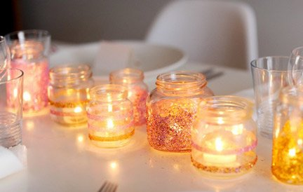 Glitter Candle Centerpiece