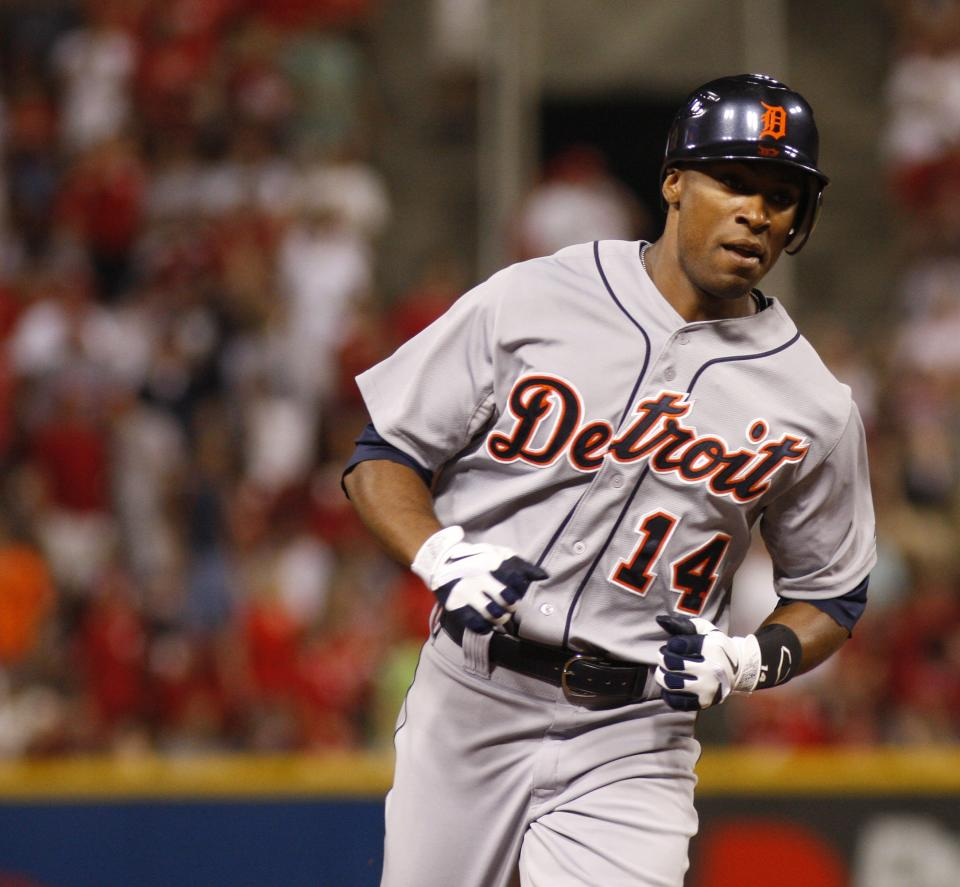 Detroit Tigers' Austin Jackson rounds the bases after hitting a solo home run off Cincinnati Reds starting pitcher Homer Bailey in the fifth inning during a baseball game, Sunday, June 10, 2012, in Cincinnati. The Tigers won 7-6. (AP Photo/David Kohl)