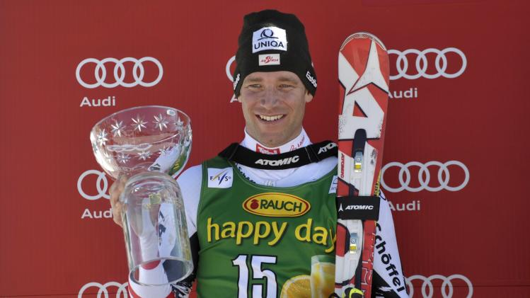 Second placed Benjamin Raich of Austria celebrates after the Alpine Skiing World Cup men's giant slalom ski race in Kranjska Gora