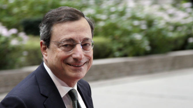 European Central Bank President Mario Draghi arrives for a meeting of the eurogroup at the EU Council building in Brussels on Tuesday, Nov. 29, 2011. Eurozone finance ministers meet Tuesday to discuss the current financial crisis. (AP Photo/Virginia Mayo)