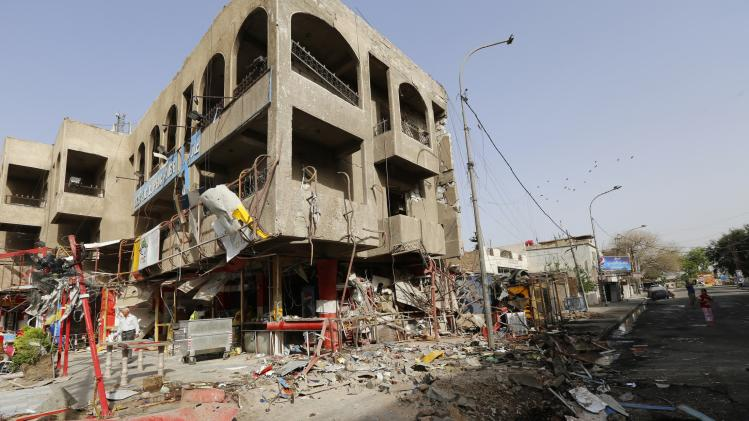 View of the site of a car bomb attack in Baghdad