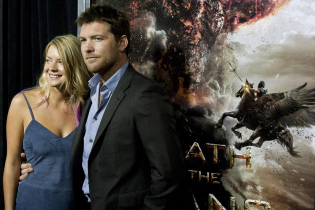 "Actor Sam Worthington and his girlfriend Crystal Humphries attend the world premiere of ""Wrath of the Titans"" in New York, Monday, March 26, 2012. (AP Photo/Charles Sykes)"
