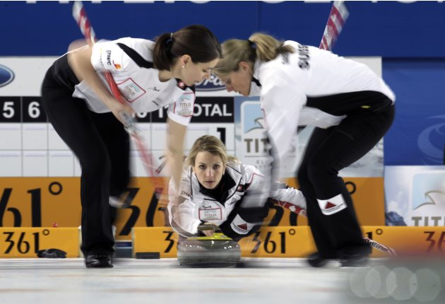 Switzerland's skip Tirinzoni delivers a stone during their World Women's Curling Championship tiebreaker match against U.S. in Riga