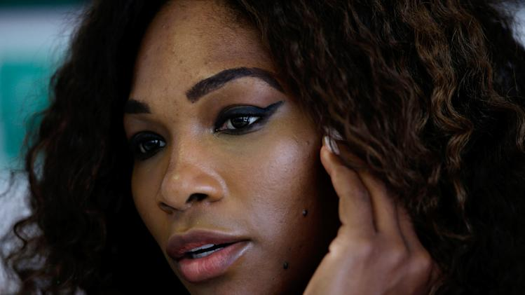 Serena Williams, of the U.S., meets the media during the Rome's tennis master tournament, Monday,  May 13, 2013. (AP Photo/Gregorio Borgia)