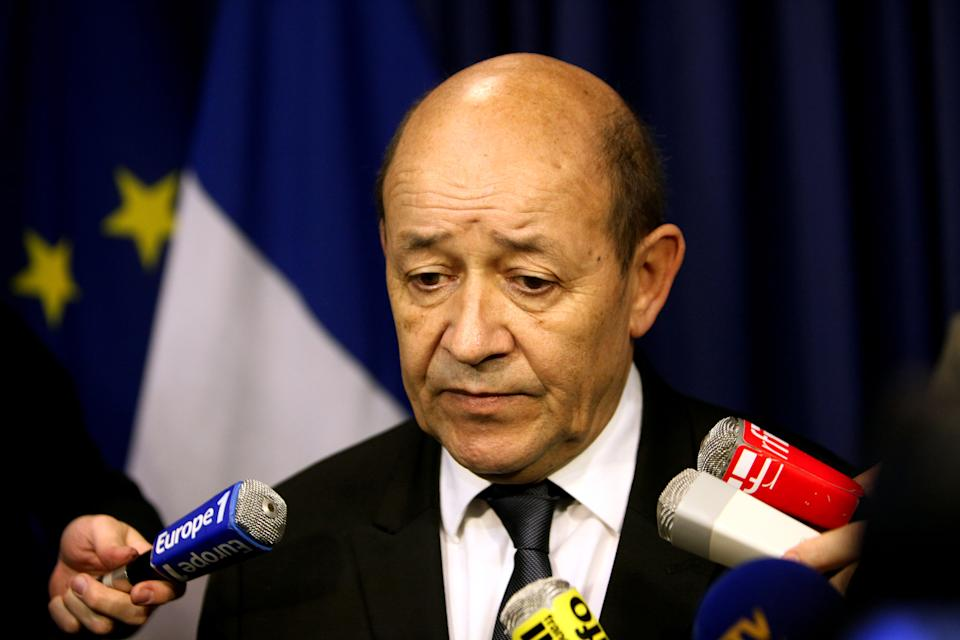 Franch Defense Minister Jean-Yves Le Drian speaks after a press conference, in Paris, Saturday, Jan. 12, 2013. Le Drian said hundreds of French troops are involved in an operation that destroyed a command center of Islamic rebels in Mali. (AP Photo/Thibault Camus)
