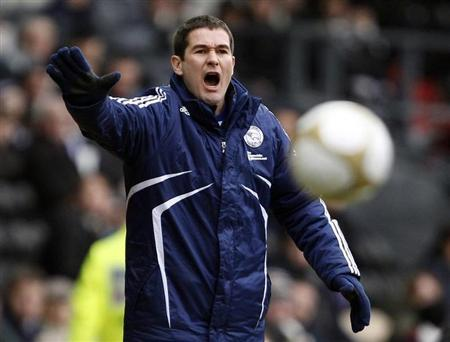 Derby County's manager Clough instructs his team during their FA Cup soccer match against Birmingham City in Derby