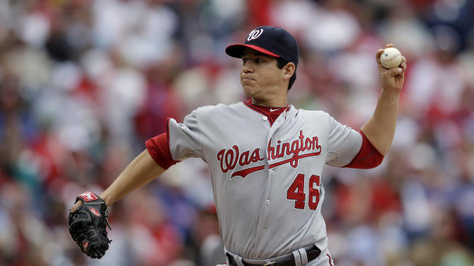Washington Nationals' Tommy Milone pitches in the third inning of a baseball game against the Philadelphia Phillies, Tuesday, Sept. 20, 2011, in Philadelphia. (AP Photo/Matt Slocum)