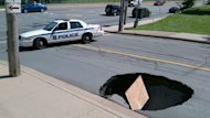 Cornwallis Street was closed to traffic because of a sinkhole.