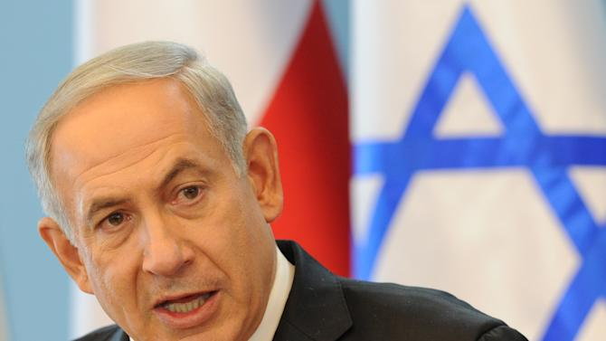 Israeli Prime Minister Benjamin Netanyahu speaks during a press conference following talks with his Polish counterpart Donald Tusk in Warsaw, Poland, Wednesday, June 12, 2013. Netanyahu came to Poland for a two day visit for talks with Tusk and to attend the opening of a Holocaust exhibition in the former German Nazi Death Camp Auschwitz Birkenau. (AP Photo/Alik Keplicz)