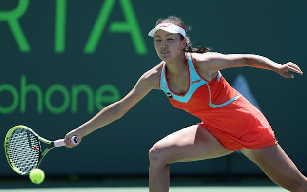 Peng Shuai of China plays a forehand at the Sony Open at Crandon Park Tennis Center on March 21, 2013, in Florida