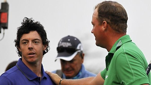 Peter Hanson reacts after pipping Rory McIlroy at the BMW Masters (Reuters)