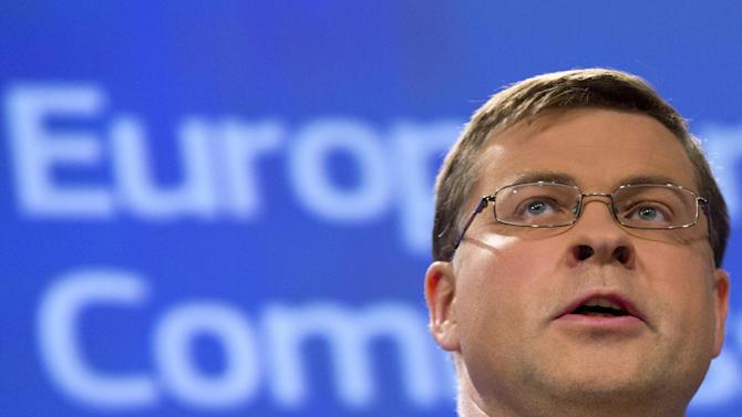 European Commission Vice-President Valdis Dombrovskis speaks during a media conference at EU headquarters in Brussels on Monday, July 6, 2015. Euro area finance ministers and heads of state meet in Brussels on Tuesday, July 7, 2015 to discuss the current Greek crisis. (AP Photo/Virginia Mayo)