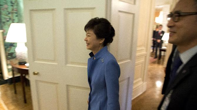 South Korea President Park Geun-Hye arrives for a meeting with World Bank president World Bank President Jim Yong Kim at the Blair House on Tuesday, May 7, 2013, in Washington. (AP Photo/Evan Vucci)