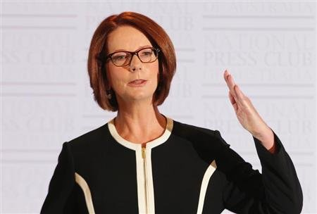 Australian Prime Minister Gillard speaks at the National Press Club in Canberra