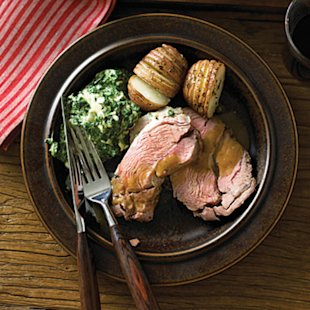 Lamb Shoulder Roast with Roasted Garlic Sauce