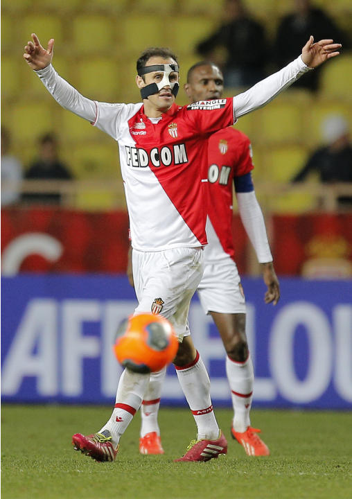 Monaco's Ricardo Carvalho of Portugal gestures during his French League One soccer match against Ajaccio, in Monaco stadium, Sunday, Dec. 8, 2013