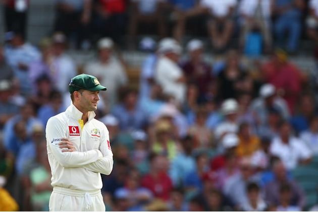 ADELAIDE, AUSTRALIA - NOVEMBER 23:  Michael Clarke of Australia looks dejected after the wicket of Graeme Smith of South Africa was referred to the third umpire and over-turned during day two of the S