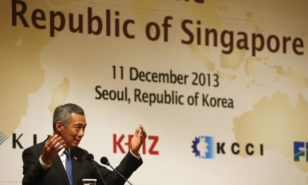 Singapore's PM Lee speaks during luncheon hosted by leaders of federations of economic organizations of South Korea in Seoul