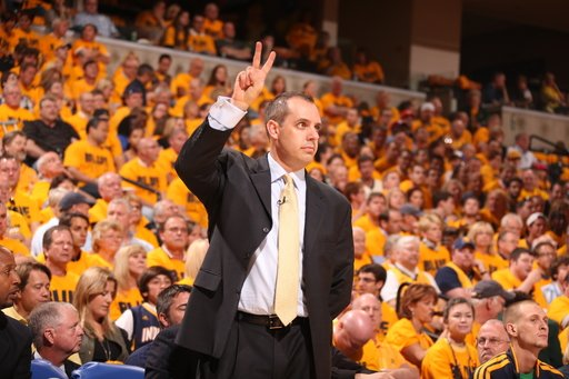 INDIANAPOLIS, IN - MAY 18:  Head Coach Frank Vogel of the Indiana Pacers gestures during the Game Six of the Eastern Conference Semifinals between the New York Knicks and the Indiana Pacers during the