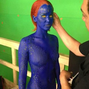 Jennifer Lawrence seen on the set of &#39;X-Men: Days of Future Past&#39; as Mystique on May 20, 2013 -- Twitter