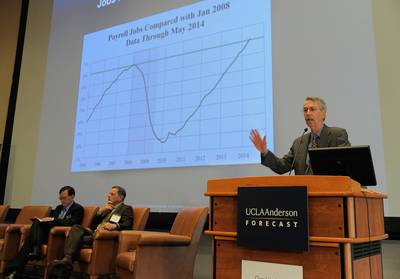 UCLA Anderson Forecast Director Ed Leamer presents the national economic outlook on June 12, 2014.