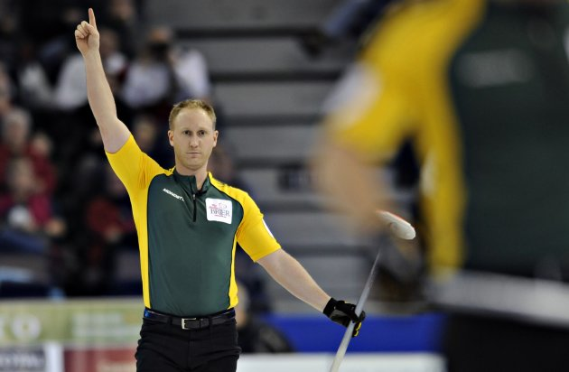 Northern Ontario skip Brad Jacobs reacts to his shot during the gold medal game against Manitoba at the Canadian Men's Curling Championships in Edmonton