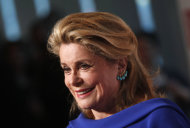 French actress Catherine Deneuve arrives for the Film Society of Lincoln Center&#39;s 39th annual Chaplin Award Gala at Alice Tully Hall, Monday, April 2, 2012 in New York. (AP Photo/Jason DeCrow)