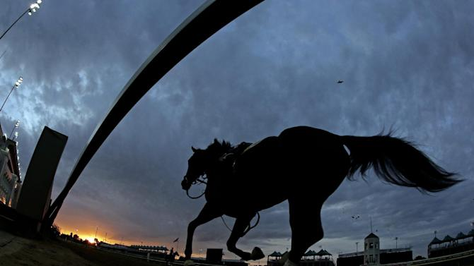A horse breaks free during a morning workout at Churchill Downs Friday, May 3, 2013, in Louisville, Ky. Saturday will be the 139th running of the Kentucky Derby. (AP Photo/Charlie Riedel)