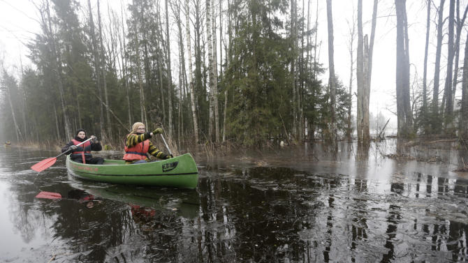 People canoe through a flooded forest in Soomaa national park