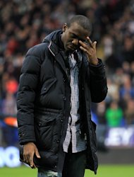 Bolton Wanderers' Fabrice Muamba on the pitch before the game
