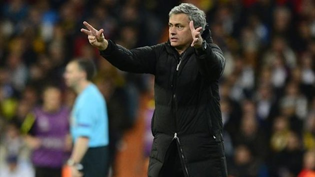 Real Madrid's Portuguese coach Jose Mourinho gestures during the UEFA Champions League semi-final second leg against Borussia Dortmund at the Santiago Bernabeu (AFP)