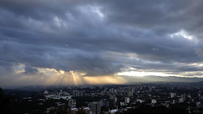 A general view of Guatemala City during sunset