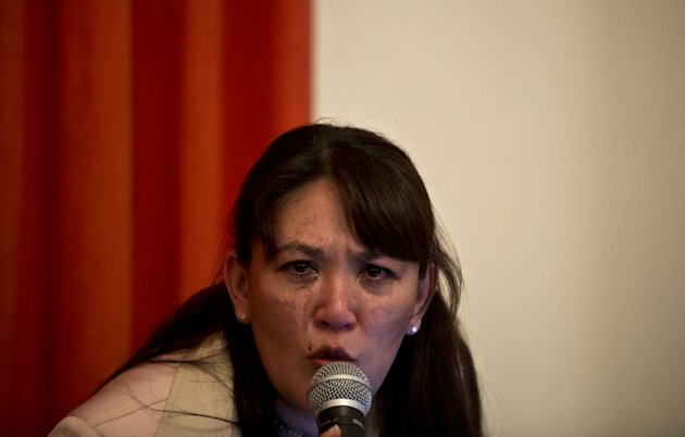 Blanca Castro, who says she is a victim of the sect 'Defenders of Christ', speaks during a conference press in Mexico City, on February 19, 2013