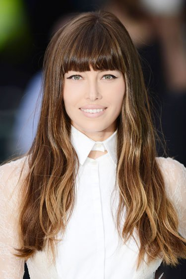 Jessica Biel's Blunt Bangs and Long Layers