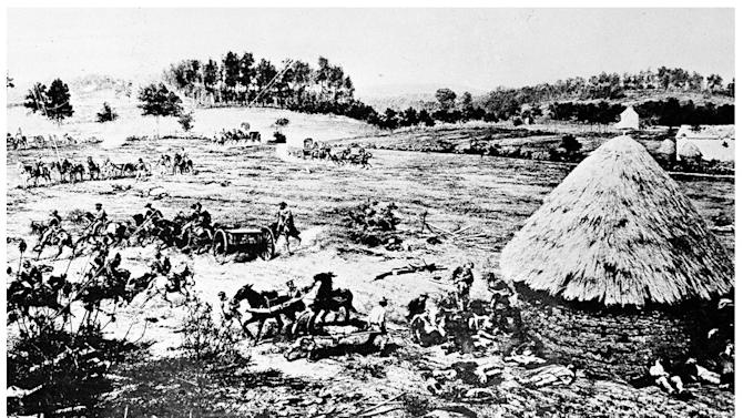 This combination image shows, top, a sketch made available by the Library of Congress of the field hospital headquarters at the Battle of Gettysburg in July 1863, and bottom, members of the Union Murray's Brigade setting up camp during ongoing activities commemorating the 150th anniversary of the Battle of Gettysburg, Thursday, June 27, 2013, in Gettysburg, Pa. (AP Photo)