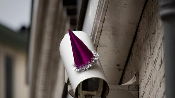 Surveillance Cams Get Party Hats for Orwell's Birthday