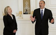 Azeri President Ilham Aliyev holds talks with US Secretary of State Hillary Clinton in Baku. Clinton is in Azerbaijan for talks aimed at strengthening relations with the oil-rich state, amid a flare-up of violence on its border with Armenia