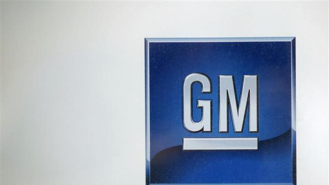 A logo at a GM dealership is seen in New York