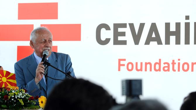 Ibrahim Cevahir, Turkish investor and owner of 'Cevahir Holding', speaks during a cornerstone ceremony for construction of four skyscrapers and shopping mall, in Skopje, Macedonia, Monday, July 16, 2012. The construction site that measures about 280.000 square meters (3.000.000 square feet) will consist of four towers with 42 floors each 130 meters (427 feet) tall with business space, shopping mall, and providing residence to 5,000 people. This is the largest construction of residential buildings ever launched in Macedonia worth euro 300 million (367 million US Dollar) and will be completed in three years by Turkish company 'Cevahir Holding'. (AP Photo/Boris Grdanoski)