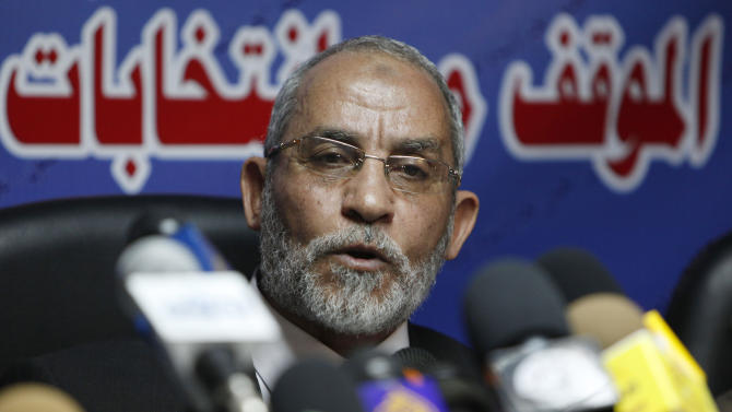 """FILE - In this Saturday, Oct. 9, 2010 file photo, Mohammed Badie speaks during a press conference at the group's parliamentary office in Cairo, Egypt. A leading Jewish organization is calling Saturday, Oct. 13, 2012 on the White House to cut contacts with Egypt's most powerful political movement, the Muslim Brotherhood, over anti-Semitic remarks attributed to its spiritual guide. Mohammed Badie said that Jews were spreading """"corruption,"""" had slaughtered Muslims and profaned holy sites, according to comments published on the group's website and emailed to reporters. He further called on Muslims to fight Israel, saying Zionists only understood force. (AP Photo/Nasser Nasser, File)"""